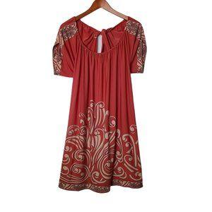 Bcbgmaxazria Terra-Cotta Border Print Tie Dress